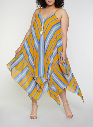 Plus Size Striped Asymmetrical Dress with Necklace,BLUE,large