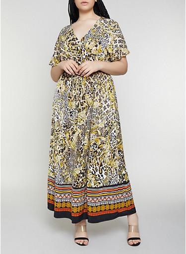 Plus Size Short Sleeve Printed Faux Wrap Maxi Dress,BLACK,large