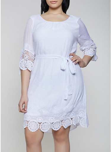 Plus Size Gauze Knit Crochet Trim Shift Dress,WHITE,large