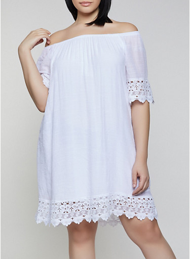 Plus Size Off the Shoulder Gauze Knit Shift Dress,WHITE,large