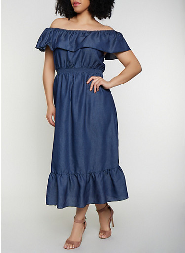 Plus Size Denim Off the Shoulder Maxi Dress,DENIM,large