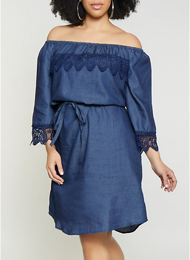Plus Size Crochet Trim Off the Shoulder Chambray Dress,DENIM,large