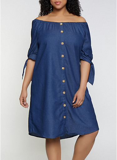 Plus Size Faux Button Chambray Dress,DENIM,large