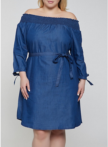 Plus Size Denim Off the Shoulder Midi Dress,DENIM,large