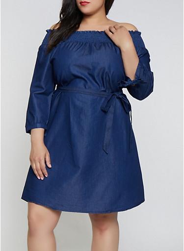 Plus Size Denim Off the Shoulder Midi Dress,DARK WASH,large