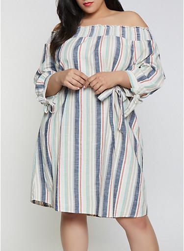 Plus Size Striped Linen Off the Shoulder Shift Dress,KHAKI,large