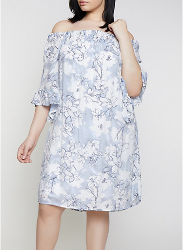 9fd968d89e7 Plus Size Bell Sleeve Floral Off the Shoulder Dress - Rainbow