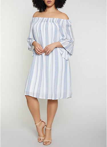 Plus Size Smocked Neck Striped Dress,WHITE/BLUE,large