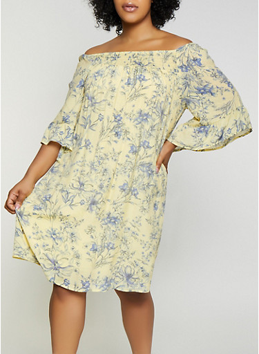 Plus Size Smocked Floral Off the Shoulder Dress,YELLOW,large