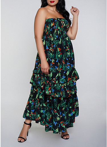 Plus Size Ruffle Hem Floral Maxi Dress by Rainbow