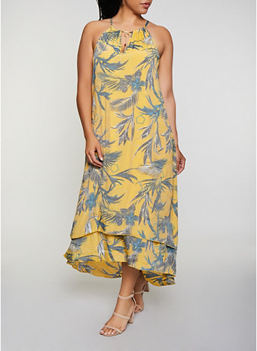 Plus Size Tropical Print Tiered Maxi Dress,YELLOW,large