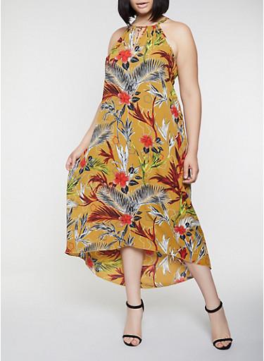 Plus Size Crepe Knit Floral Maxi Dress,OLIVE,large