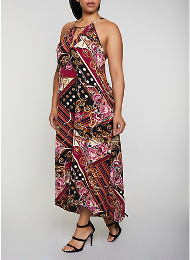 Plus Size Printed Crepe Knit Maxi Dress,BLACK,large