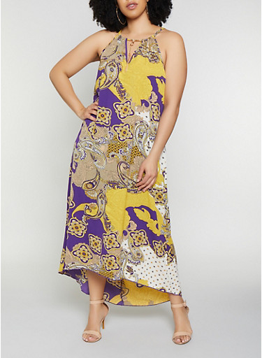 Plus Size Printed Metallic Keyhole Maxi Dress,MUSTARD,large