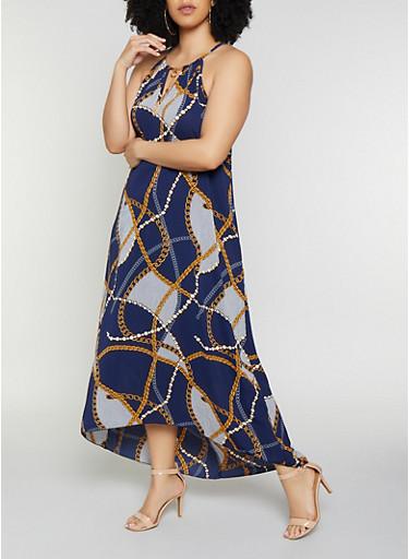 Plus Size Striped Status Print Maxi Dress,NAVY,large