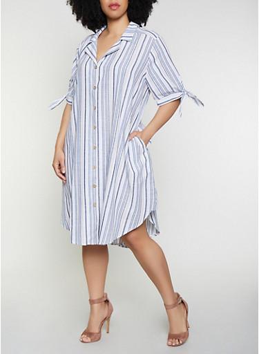 Plus Size Tie Sleeve Striped Linen Shirt Dress,BLUE,large