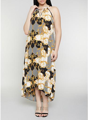Plus Size Crepe Knit Status Print Maxi Dress,BLACK,large