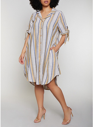Plus Size Striped Tie Sleeve Shirt Dress,MUSTARD,large