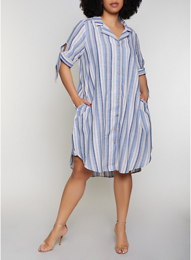 Plus Size Tie Sleeve Striped Shirt Dress,BLUE,large