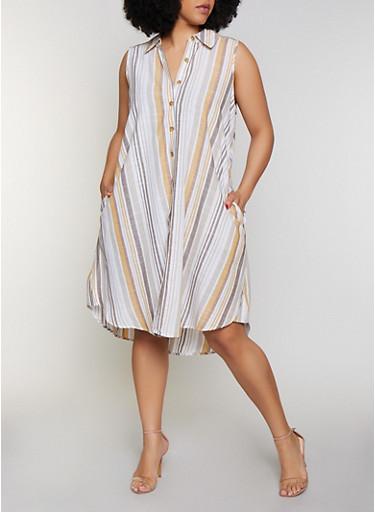 Plus Size Striped Sleeveless Shirt Dress,MUSTARD,large