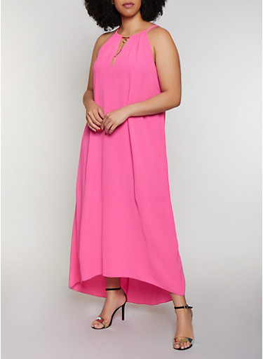 Plus Size Sleeveless Metallic Keyhole Maxi Dress | 0390056121923,FUCHSIA,large