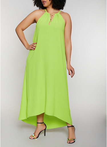 Plus Size Metallic Neckline Maxi Dress,LIME,large