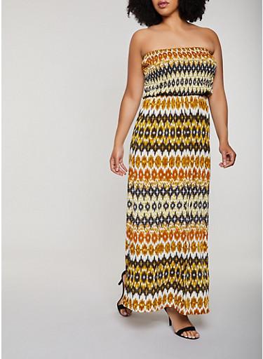 Plus Size Printed Smocked Maxi Dress,BROWN,large