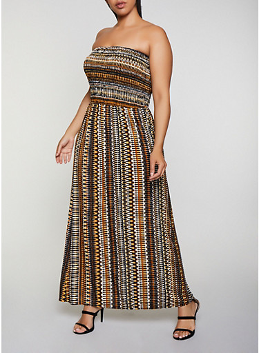 Plus Size Printed Strapless Maxi Dress,BROWN,large