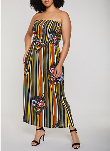 Plus Size Floral Striped Smocked Maxi Dress