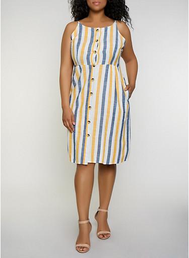 Plus Size Striped Linen Button Front Cami Dress,GOLD,large