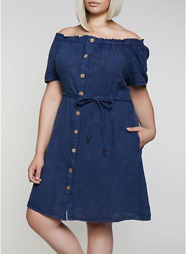 Plus Size Button Front Off the Shoulder Dress - Rainbow