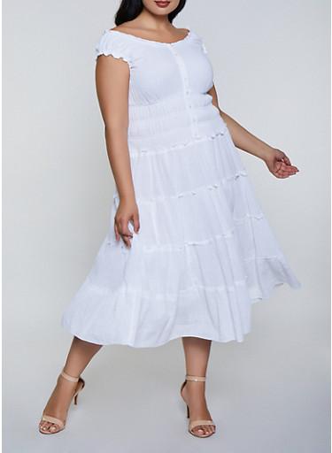 Plus Size Gauze Knit Button Front Dress,WHITE,large