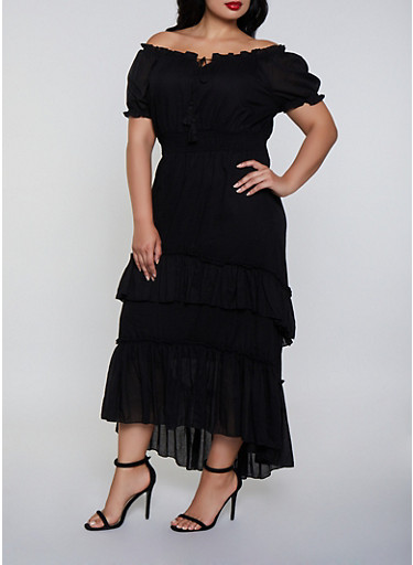 Plus Size Tiered Off the Shoulder Peasant Dress,BLACK,large