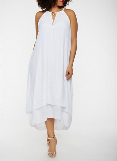 Plus Size Metallic Tassel Neck Maxi Dress,WHITE,large