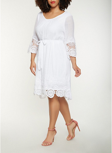 Plus Size Gauze Knit Shift Dress,WHITE,large