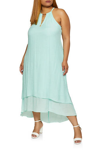 Plus Size Gauze Knit Tiered High Low Dress,MINT,large