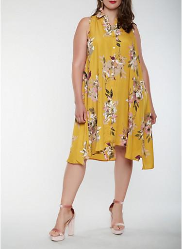 Plus Size Sleeveless Printed Shirt Dress,GOLD,large