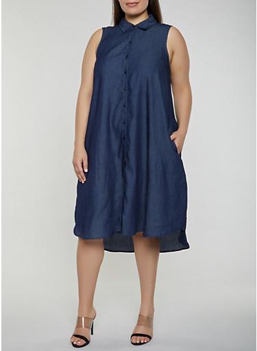 Plus Size Sleeveless Button Front Denim Dress,DARK WASH,large