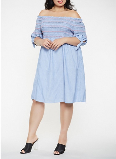 Plus Size Striped Off the Shoulder Dress,WHITE/BLUE,large