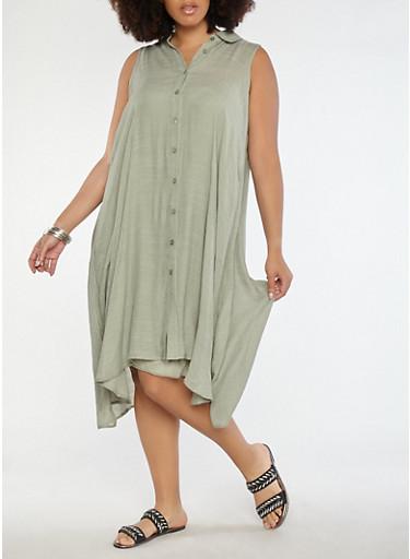 Plus Size Button Front Trapeze Dress,SAGE,large