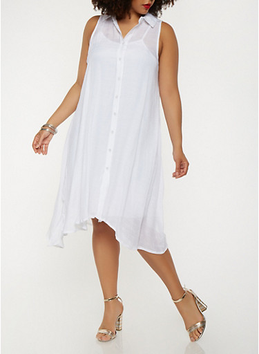 Plus Size Trapeze Shirt Dress,WHITE,large