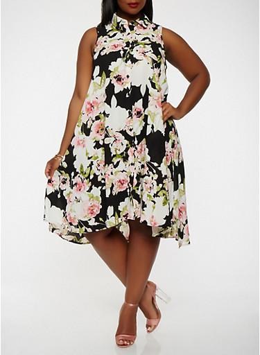 Plus Size Floral Button Front Dress,BLACK/WHITE,large