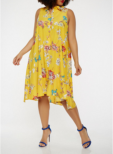Plus Size Sleeveless Printed Shirt Dress,MUSTARD,large