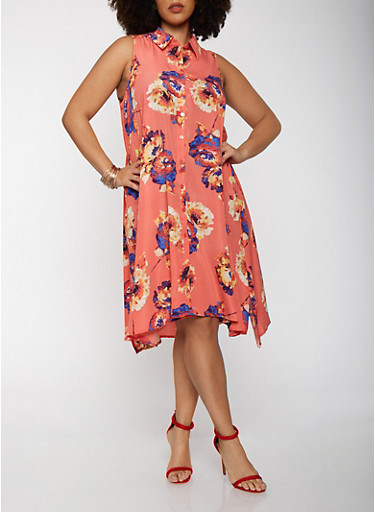 Plus Size Sleeveless Printed Shirt Dress,CORAL,large