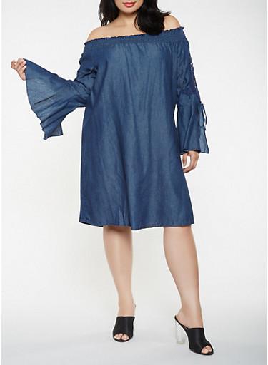 Plus Size Crochet Sleeve Chambray Dress,DENIM,large