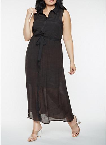 Plus Size Button Front Maxi Dress,BLACK,large