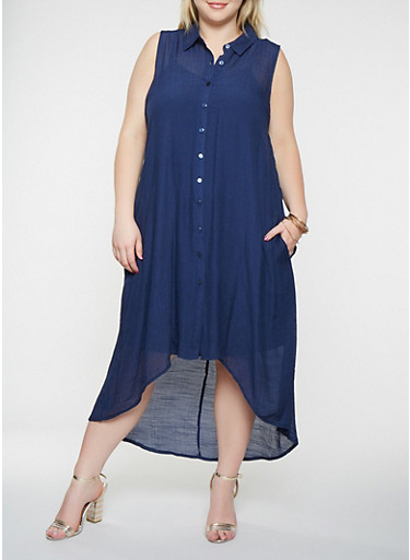 Plus Size Button Front High Low Dress,NAVY,large