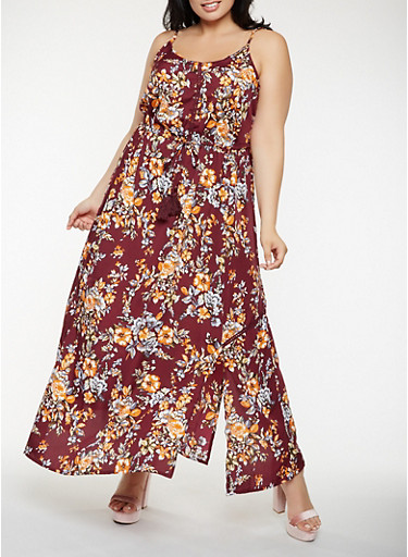 Plus Size Floral Maxi Dress,WINE,large