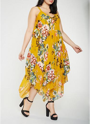 Plus Size Printed Asymmetrical Maxi Dress,MUSTARD,large