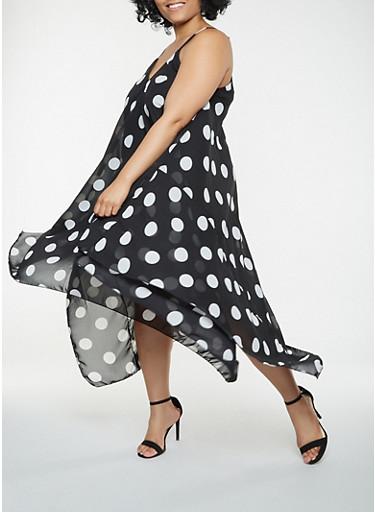 Plus Size Polka Dot Asymmetrical Dress,BLACK/WHITE,large